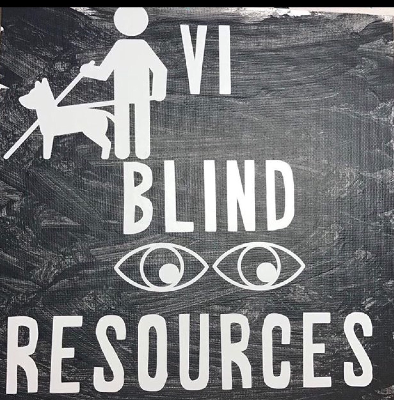 "A white silhouette of a person with a cane and guide dog, next to them, (and going down the canvas), are White words on a black background that read, ""VI Blind Resources,"" and under the word blind is a pair of eyes"